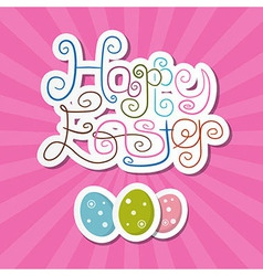 Happy Easter Paper Retro Pink Background vector image vector image