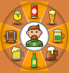 infographic set of beer icons and man vector image