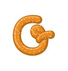 letter g pretzel snack font symbol food alphabet vector image