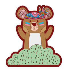 Line color ethnic bear animal in back of bushes vector