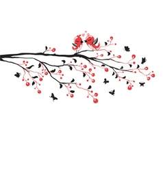 love birds on branch vector image vector image
