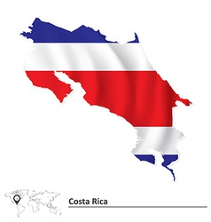 Map of Costa Rica with flag vector image vector image
