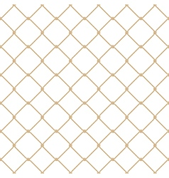 Nautical rope seamless gold fishnet pattern vector