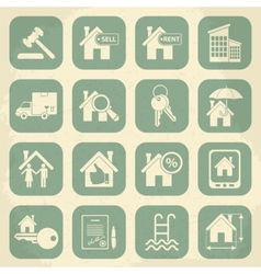 Real estate retro icon set vector image