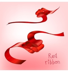 Ribbon curled red a vector