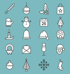 Set of flat outlined Christmas icons variable line vector image