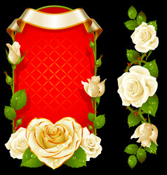 set of floral decoration white roses green vector image vector image