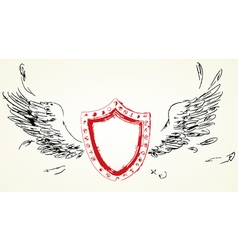 Shield with wings hand-drawn version of raster vector