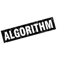 square grunge black algorithm stamp vector image vector image