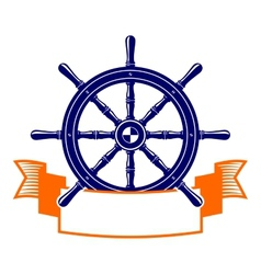 steering wheel with banner symbol vector image vector image