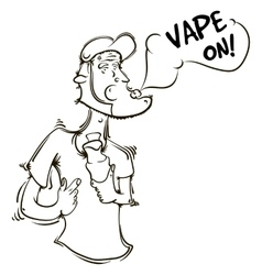 The person with an electronic cigarette in hands vector image