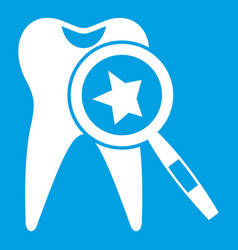 Tooth with magnifying glass icon white vector