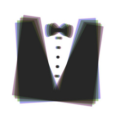 Tuxedo with bow silhouette colorful icon vector