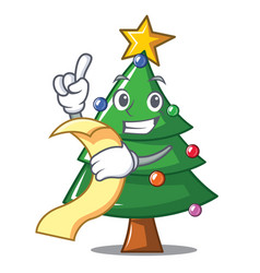 With menu christmas tree character cartoon vector