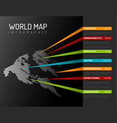 World map infographic template with pointer marks vector