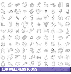 100 wellness icons set outline style vector