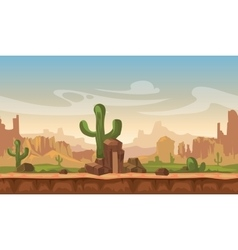 Cartoon america prairie desert landscape with vector