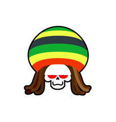 rasta death rastafarian dreadlocks skull and vector image