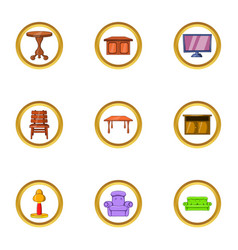 Home furniture icon set cartoon style vector