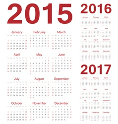 Set of european 2015 2016 2017 calendars vector