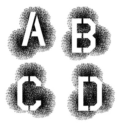 Stencil angular spray font letters a b c d vector