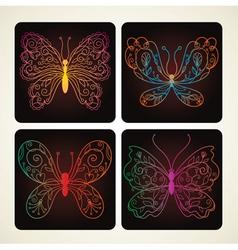 Set of beauty butterflies vector
