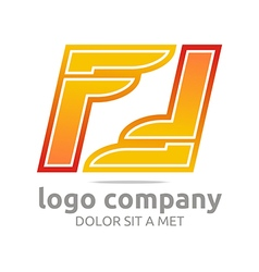 Logo letter f alphabet orange company foot design vector