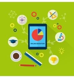 Online education concept with science icons vector