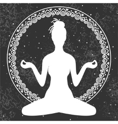 Meditation in lotus position of yoga vector