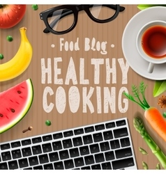 Food blog healthy cooking recipes online vector