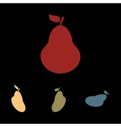 Pear icon set vector