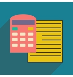 Modern flat icon with shadow paper and calculator vector