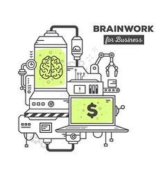 Creative professional mechanism of brainw vector