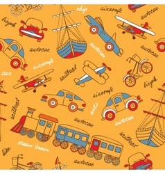 pattern with retro transport vector image
