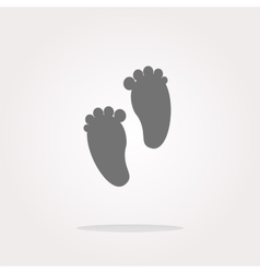 Footprint circle glossy web icon on white vector