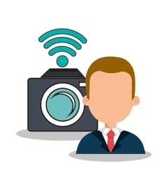 Photographer with camera design vector