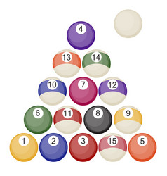 A collection of all the pool or snooker balls with vector