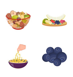 Assorted nuts fruits and other food food set vector