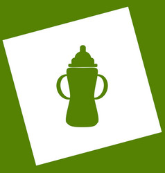 Baby bottle sign white icon obtained as a vector
