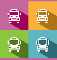 Bus school icon with shadow on colored backgrounds vector