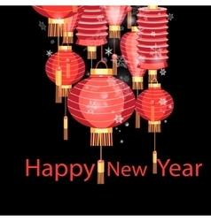 Christmas red chinese lanterns vector