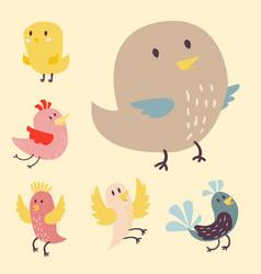 cute birds set cartoon vector image vector image