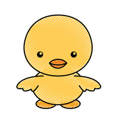 Cute scribble chick cartoon vector