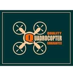 Drone icon quadrocopter quality guarantee text vector