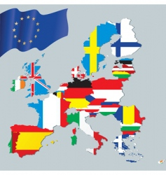 European union and flags vector image vector image