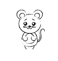 Figure cute mouse wild animal with face expression vector
