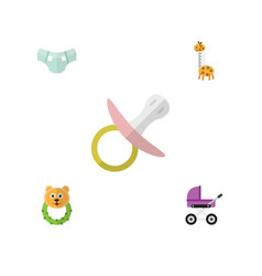 Flat child set of rattle stroller toy and other vector