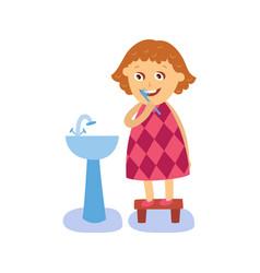 flat girl brushing teeth at washbasin vector image vector image