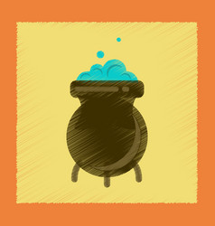Flat shading style icon cauldron witches potion vector