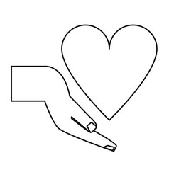 Hand holding heart healthcare thin line vector